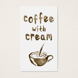 Kaffee mit Sahnelochkarte bokeh Visitenkarte
