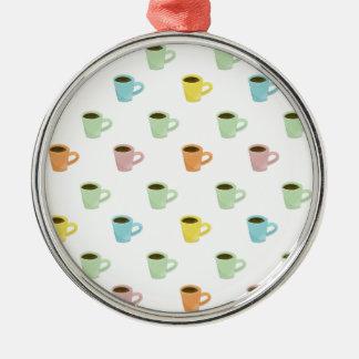 Kaffee-Muster Silbernes Ornament