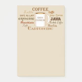 Kaffee nennt personalisierte post-it klebezettel