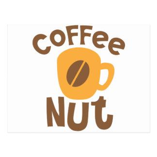Kaffee-Nuss mit Kaffeebohne Postkarte