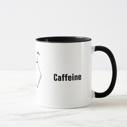 Kaffee-Tasse des chemischen Mittels des Koffeins Tasse
