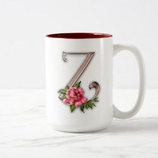 Kaffee-Tasse mit herrlicher verzierter Initiale Z Zweifarbige Tasse