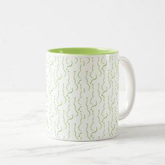Kaffee-Tasse mit Muster der Katzen im Limonen Grün Zweifarbige Tasse