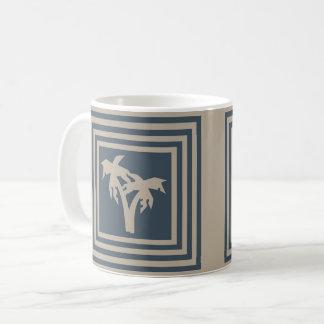 Kaffee-Tassen-dunkelblaue TAN-Palme OP1029 Kaffeetasse