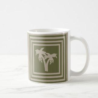 Kaffee-Tassen-olivgrünes Grün-TAN-Palme OP1028 Tasse