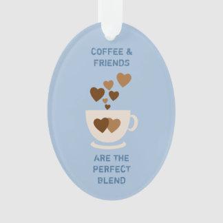 Kaffee u. Freunde blau Ornament