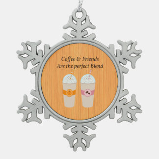 Kaffee u. Freunde sind die perfekte Schneeflocken Zinn-Ornament