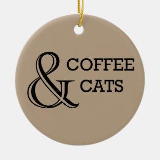 Kaffee u. Katzen-Verzierung Keramik Ornament
