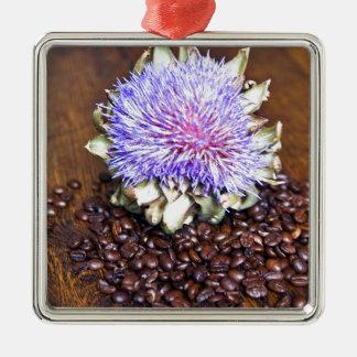 Kaffee und Artischocke Silbernes Ornament