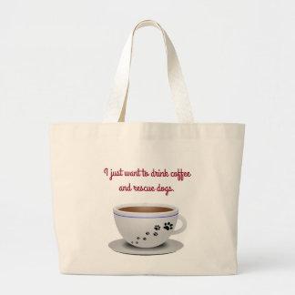 Kaffee und HundeTasche Jumbo Stoffbeutel