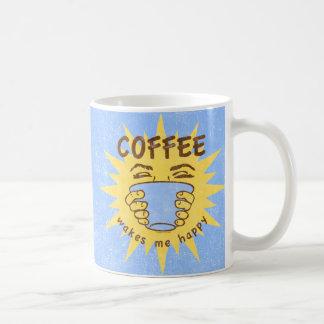 Kaffee weckt mich glücklich kaffeetasse