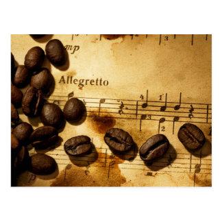 Kaffeebohnen und Musiknoten Postkarte