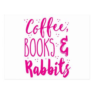 Kaffeebücher und -kaninchen postkarte