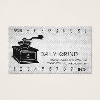 Kaffeemühle/Loyalitäts-Durchschlag auf Visitenkarten