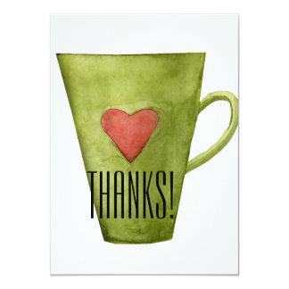 Kaffeetasse u. Herz-Ebene danken Ihnen zu Karte