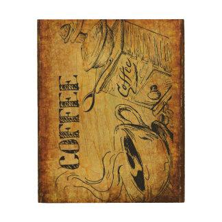 Kaffeezeit-Holz wallart Holzdruck