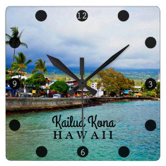 Kailua Kona Pier-Hawaii-Ölfarbe-Digital-Kunst Quadratische Wanduhr