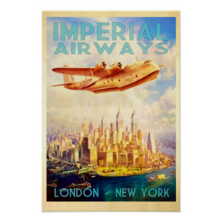 Kaiserfluglinien London u. Vintage Reise New York Poster