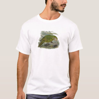 Kakapo-grüner Papageien-Vintage Illustration T-Shirt