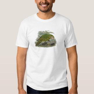 Kakapo-grüner Papageien-Vintage Illustration T-shirts