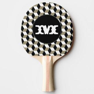 Kakifarbig-Würfel, Schwarzes u. weißes 3D Tischtennis Schläger