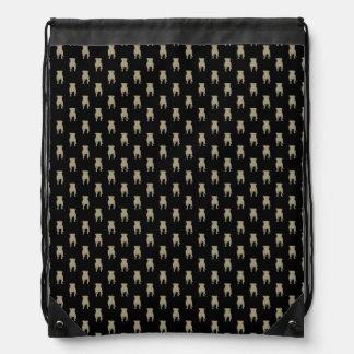 Kakifarbige Mops-Silhouetten auf schwarzem Turnbeutel