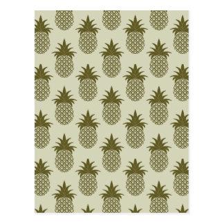 Kakifarbiges Ananas-Muster Postkarte