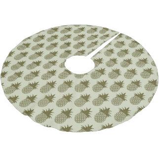 Kakifarbiges Monogramm des Ananas-Muster-| Polyester Weihnachtsbaumdecke