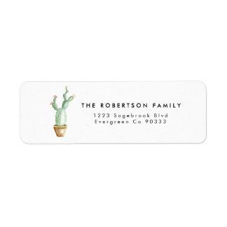 Kaktus-Aquarell-Adressen-Etikett