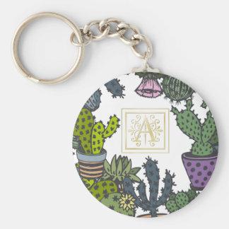 Kaktus-Monogramm A Schlüsselanhänger