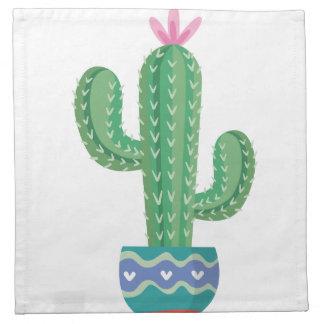 Kaktus-Pflanzen-Blumen-Entwurfskunst Stoffserviette