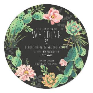 Kaktus und saftige Einladungen, Kranz-Hochzeit Karte