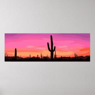 Kaktus-Wüsten-Sonnenuntergang-Reise Poster