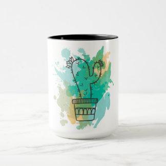 Kaktus zerteilt Aquarell Tasse