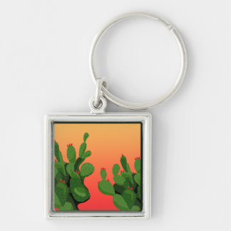 Kaktusfeige-Kaktus-Sonnenuntergang Keychain Schlüsselanhänger