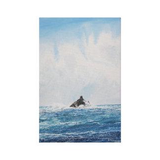 Kalb-Felsen-Leuchtturm: Watercolor-Leinwand-Druck Leinwanddruck