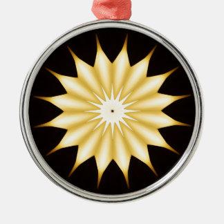 Kaleidoskop-Entwurfs-heller gelber Stern Rundes Silberfarbenes Ornament