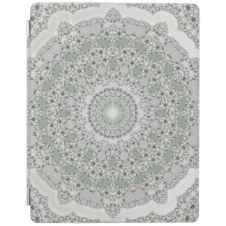 Kaleidoskop-FraktalMandala - graues Grün iPad Hülle