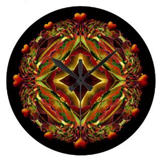 Kaleidoskop mit roten Herzen Große Wanduhr