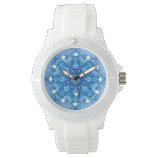 Kaleidoskopische blaue Uhr