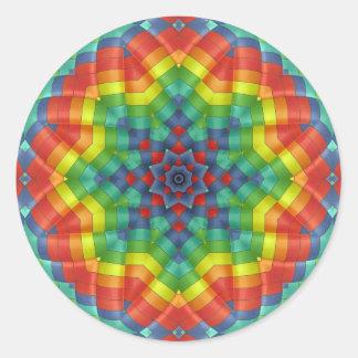 Kaleidoskopischer Heißluft-Ballon 4 Runder Aufkleber