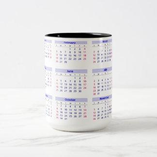 Kalender 2017 zweifarbige tasse