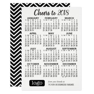 Kalender 2018 mit dem Handelsnamen u. Logo Karte