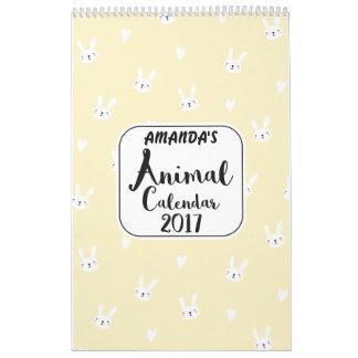 Kalender der Mädchen-personalisierter Tier-2017