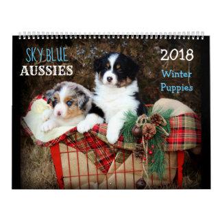 Kalender Himmel-Blau-Australier WINTER Welpen-2018