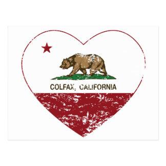 Kalifornien-Flagge colfax Herz beunruhigt Postkarte