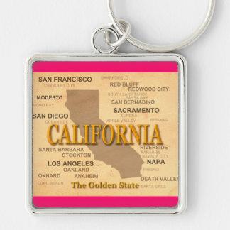 Kalifornien-Staatsstolz-Karten-Silhouette Schlüsselanhänger