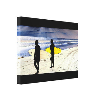 Kalifornien-Strand-Surfer-surfendes Leinwanddruck