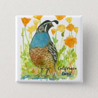 Kalifornien-Wachtel-Vogel-Aquarell-Illustration Quadratischer Button 5,1 Cm