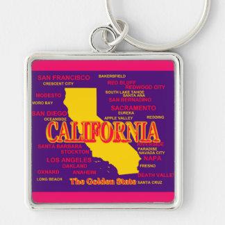 Kaliforniengroßstadt-und -stadtStaatsstolz-Karte Schlüsselanhänger